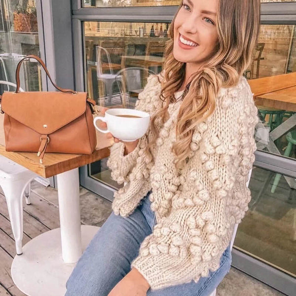 Autumn Winter Women Casual Sweater Hairball Knitted Cardigan O-neck Long Sleeve Pink Cardigan Cute Sweaters