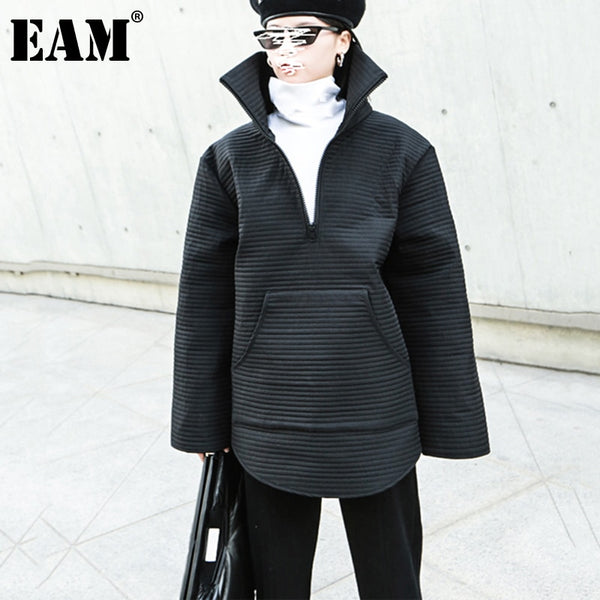 [EAM] Loose Fit Black Oversized Sweatshirt New Stand Collar Long Sleeve Women Big Size Fashion Tide Spring Autumn 2020 1DB251