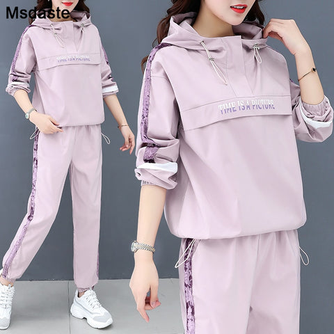 Two Piece Women Set:top and Pants 2020 Woman Tracksuit Hooded Pullover Jacket+pants Sportswear Plus Size Woman Tracksuits