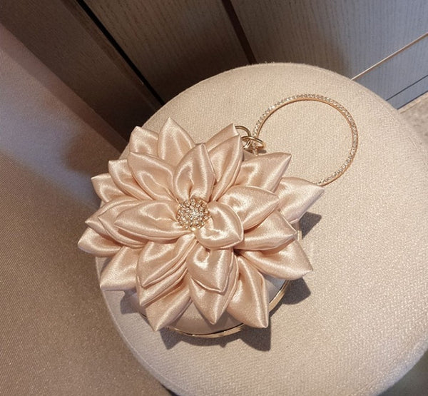 Fairy Style Evening Mini Bag Lotus Flower 2020 Luxury Lady Rhinestone Ring Handbag Women Girl Shoulder Party Wedding Banquet
