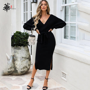 Sweater Dress Women Long Sleeve Winter Bandage Bodycon V-Neck Fall Black Knitted Sexy Dresses for Women Party