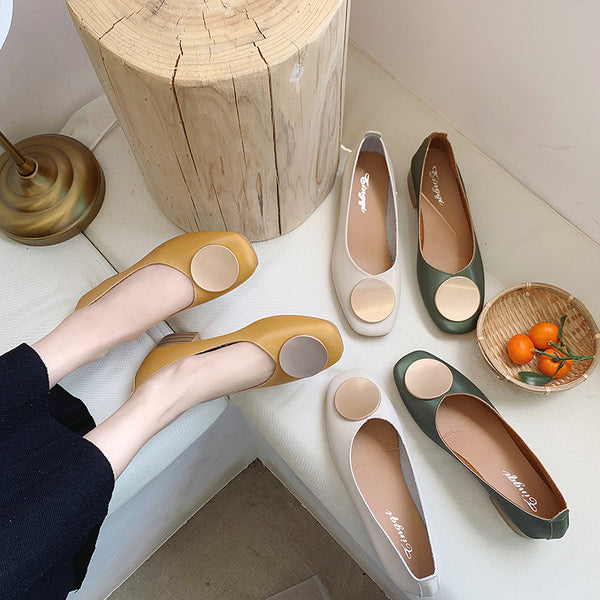 Single shoes female  new wild thick with Korean version of the square head grandmother shoes simple with comfortable lazy shoes small shoes