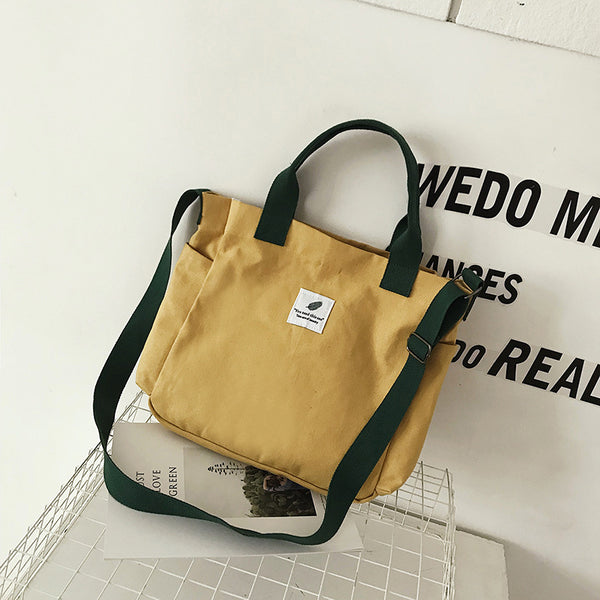 Wholesale  spring and summer new versatile canvas shoulder diagonal handbag female hit color Korean version of the large-capacity shopping bag