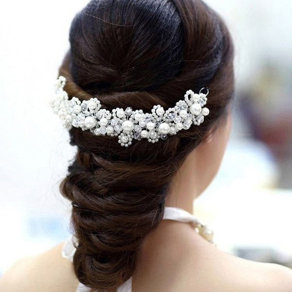 Handmade Crystal Head Piece Bridesmaid Hair Accessories White Pearl Bride Headdress Bridal Hair Jewelry Beaded Wedding Hair Band