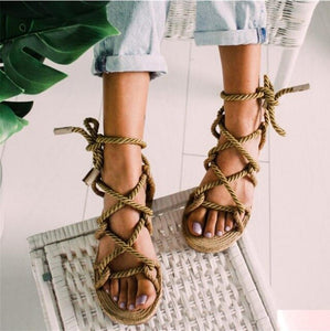 Women Sandals Lace Up Summer Shoes Woman Heels Pointed Fish Mouth Gladiator Pumps Hemp Rope High Knot rope  Strap  Sexy