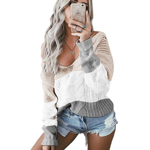 DANJEANER Casual Knitted Sweater Women Streetwear V Neck Long Sleeve Pullovers Loose Warm Coat 2020 Autumn Winter Women Sweater