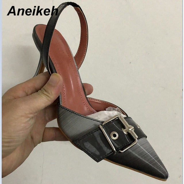 Aneikeh NEW Iridescent color Fashion Pointed end Pumps Women Party Shoes Buckle High Heels Summer Slingback Pumps Size 34-42