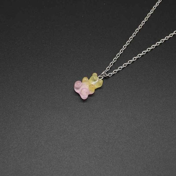 Cute candy color cartoon bear necklace DIY handmade colorful resin bear fresh necklace jewelry
