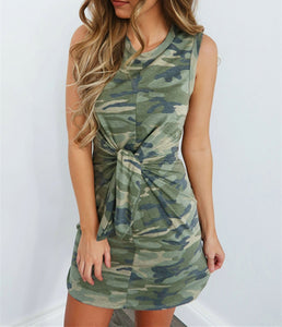 Summer Dress Women Slim Fit Dress 2020 Camouflage Mini Dress Women Fashion Tie Sleeveless Dresses Sexy Female Streetwear Lady