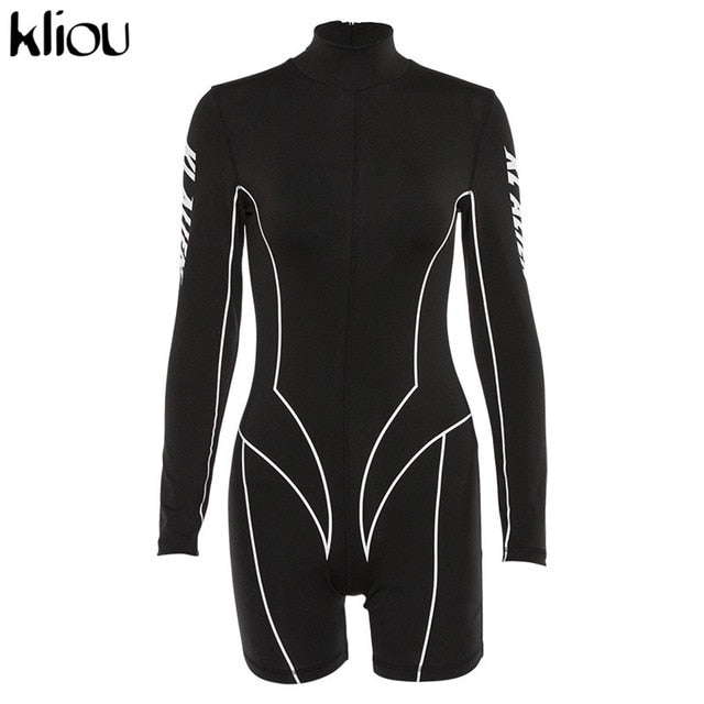 Kliou 2020 new women turtleneck full sleeve fitness playsuit white striped patchwork letter print push up skinny casual bodysuit