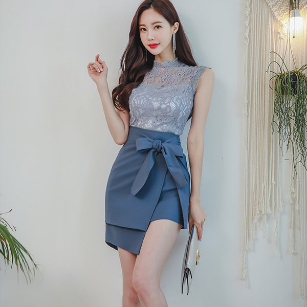 CINESSD lace dress for woman 2 Pieces Suits Sleeveless Blue hollow out summer round neck Female irregular Office work Dresses