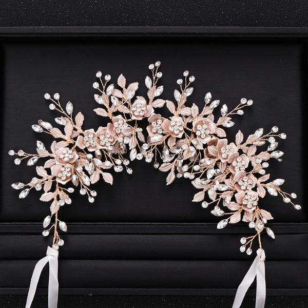 Silve rColor Bridal Flower Headband Prom Tiara Wedding Hair Accessories Bride Handmade Hair ornaments Female Crystal Headdress