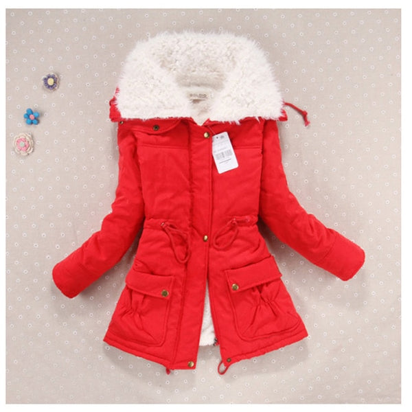 New  Winter Coat Women Slim Plus Size Outwear Medium -Long Wadded Jacket Thick Hooded Cotton Wadded Warm Cotton Parkas