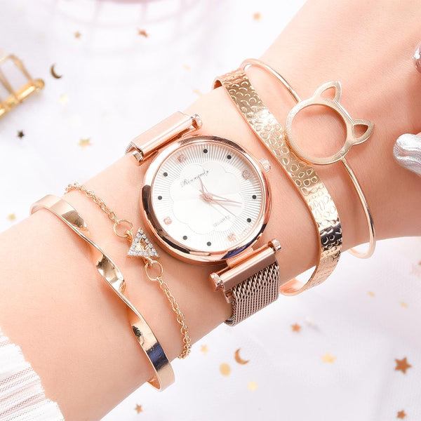 Fashion 5pcs Set Women Watches Luxury Magnet Buckle Flower Rhinestone Watch Ladies Quartz Wrist Watch Bracelet Set Reloj Mujer