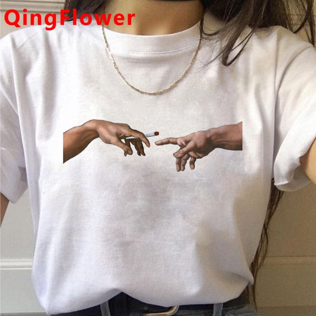 Michelangelo Aesthetic Harajuku T Shirt Women Ullzang Vaporwave T-shirt Vintage 90s Graphic Tshirt Fashion Anime Top Tees Female
