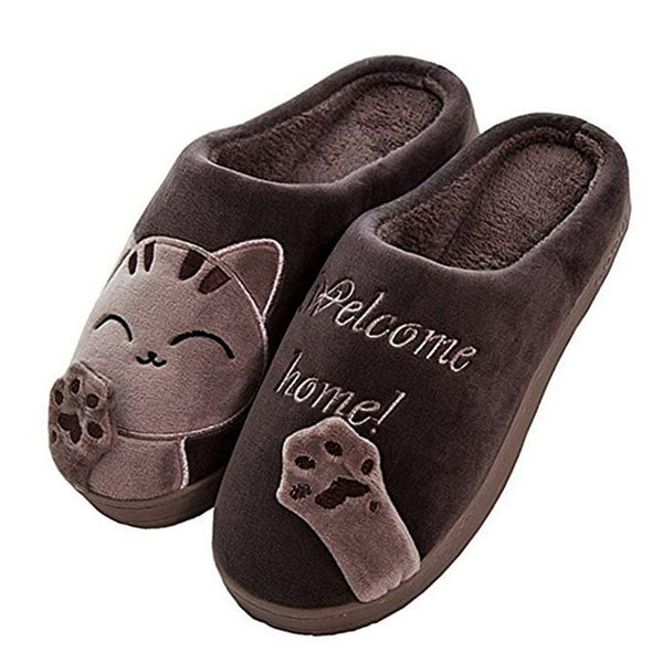 Unisex Winter Indoor Warm Home Slippers Couples Bedroom Cartoon Cat Non-slip Soft Bottom Women And Men Home Slippers