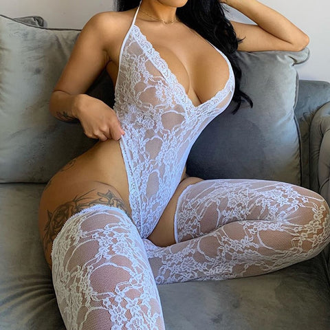 OMSJ Women's Sexy Lace Bodysuit Sleeveless See-through Backless Deep V-neck Skinny Halter Jumpsuit With Socks Female New Style
