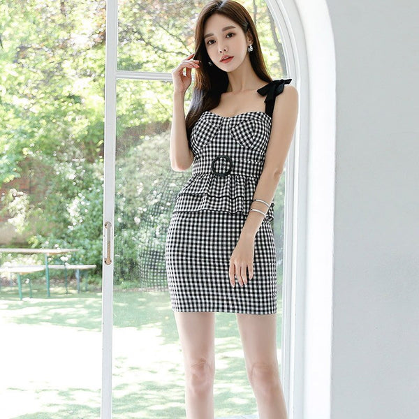 Plaid Mini Dress for women Summer Korea Sleeveless Sling Square neck Cotton Sexy Ladies one piece office Bodycon Dresses