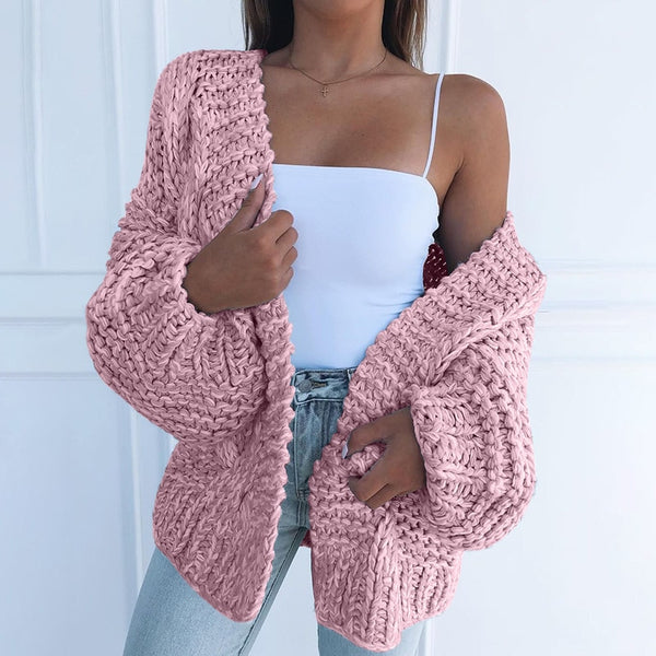 Pink Oversized Cardigans Women 2020 Autumn Winter Casual Warm Loose Plus Size 5XL Sweater Cardigan Ladies Knitted Coats Ladies