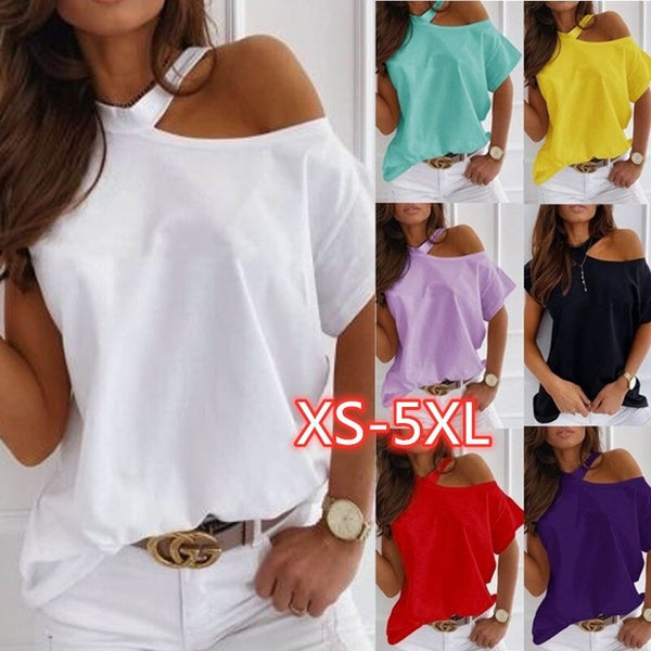 Large size Top Sexy Off Shoulder summer Tshirt Women Print Casual Summer Short Sleeve O-neck Pullovers Tops Fashion Street Tee