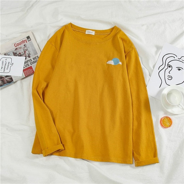 Korean weather Embroidery Loose basic t shirt autumn full Sleeve Simple T-shirts for Women harajuku Kawaii funny student tshirt
