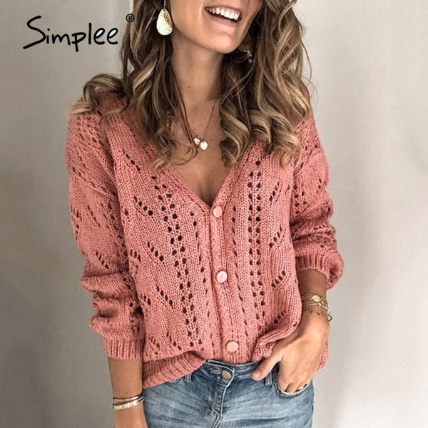 Simplee Hollow geometric pattern women's cardigan V-neck drop sleeve autumn women's sweater Retro casual cardigan sweater 2020