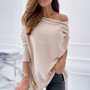 Fashion Off Shoulder Women Blouse Shirts Autumn Elegant  Long Sleeve Pullovers Tops 2020 Casual Skew Collar Solid Shirt Blusa XL