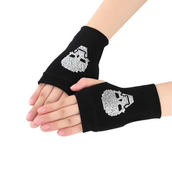 Winter Gloves Women Rhinestone Skull A+ Diamond Crown Half Finger Warm Knitted Black Mittens students Gants Femme