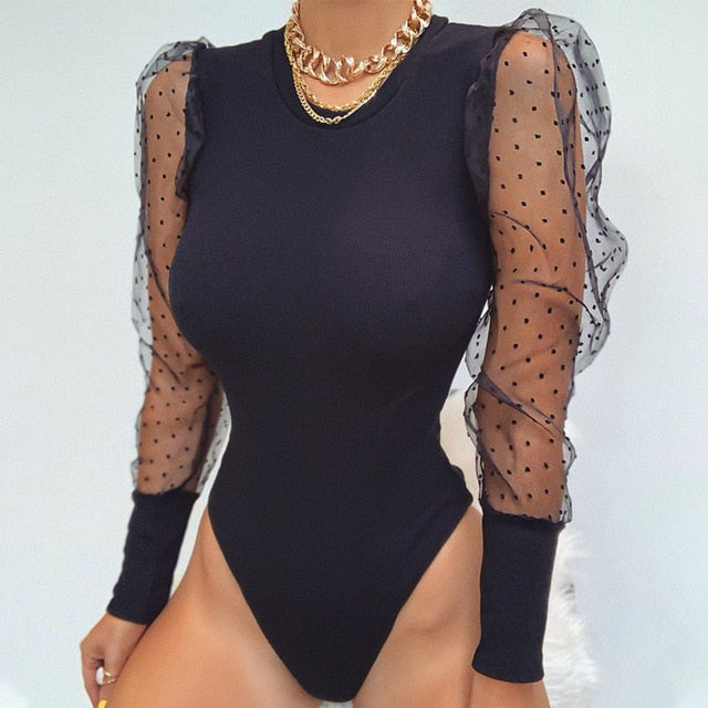 2020 New Lace Puff Sleeve Women's Bodysuit Autumn Polka Dot Elegant Vintage Bodycon Jumpsuit Tops Skinny Mesh Rompers Ladies