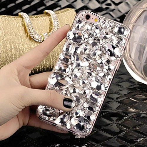 LaMaDiaa Bling Rhinestone Crystal Diamond Fox and Crown Soft Back Phone Case Cover For iPhone 12 11 Pro Max XR X 6 Plus 7 8 Plus