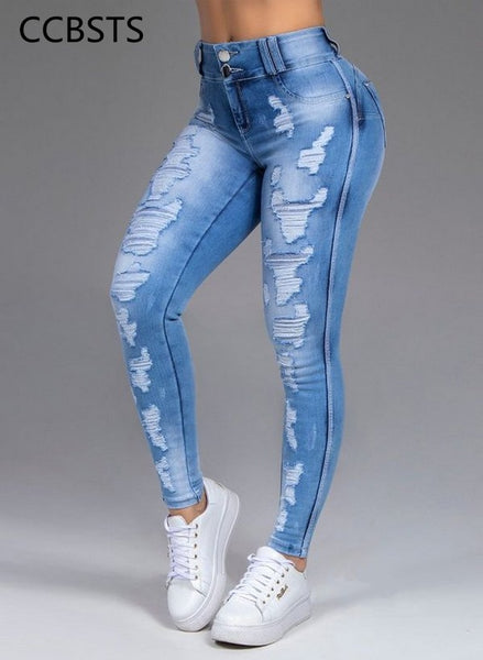 Skinny Jeans Woman High Waisted Sexy Ripped Strech Pants Korean-style Fashion Streetwear Distressed Slim Blue Denim Trousers