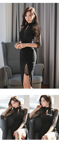 new arrival fashion bodycon dress women elegant office lady summer sexy lace perspective black temperament trend pencil dress