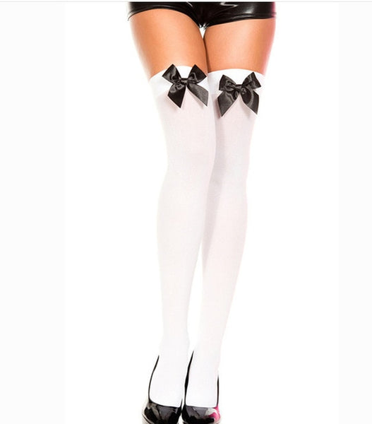 Sexy Stockings Bow Women White Thigh Over Knee Girls Stretchy Ladies Spring New Fashion Solid Long High Chaussettes