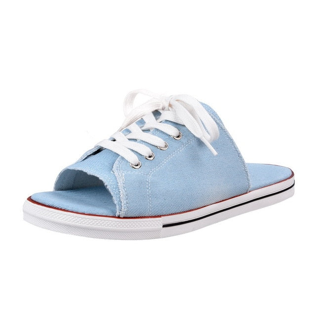 2020 Women Canvas Sandals Breathable Fashion Summer Slippers Lace Up Open Toe Ladies Faux Denim Flat Shoes Zapatos Mujer