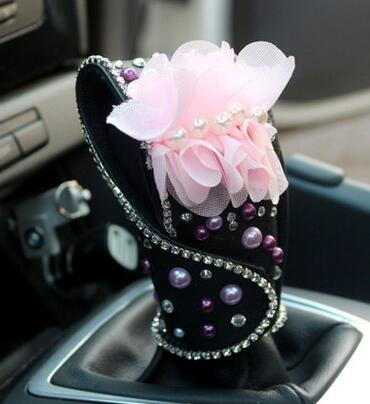 Flower car interior decoration accessories for girls Ladycrystal seat belt cover diamond leather steering wheel cover tissue box
