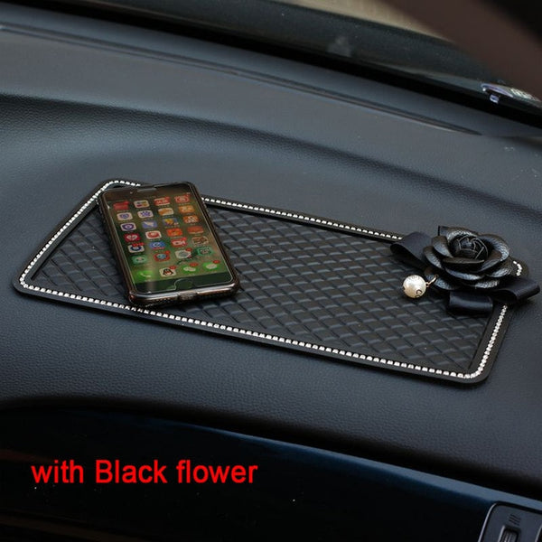 Black Pearl Camellia Flower Car Accessories Crystal Rhinestone Interior Decorate Leather Steering Wheel Cover Seat Belt Covers