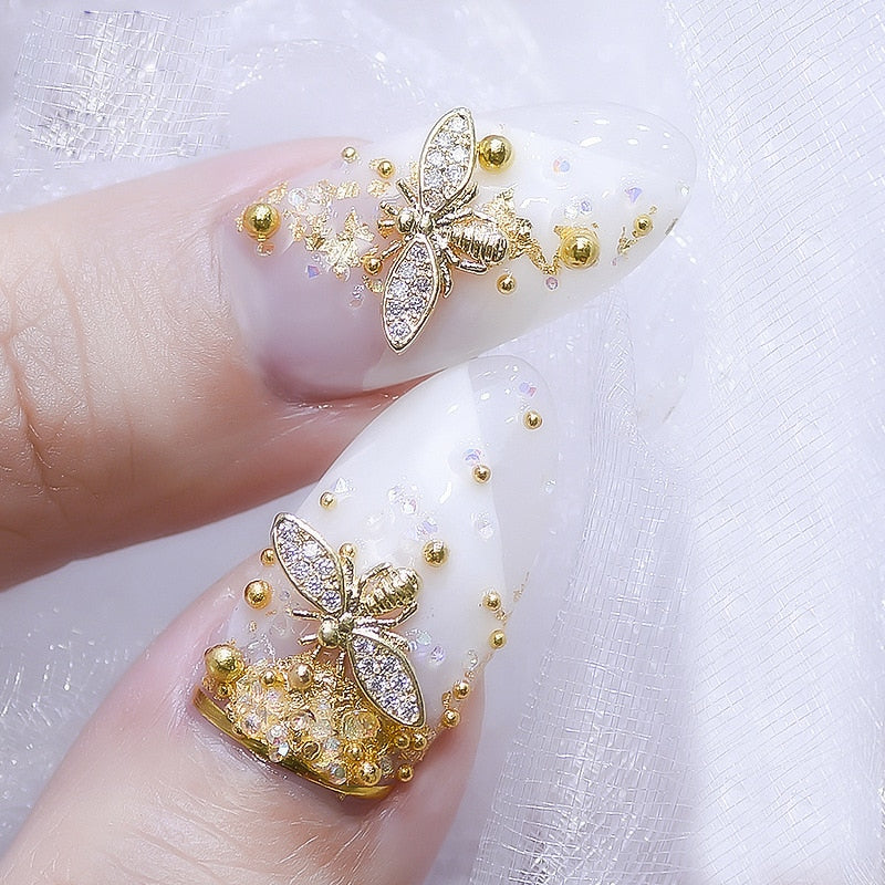 2020 Real 10pcs/lot Japan 3d Gold Bee Nail Art Decorations Diy Glitter Rhinestones Alloy Studs For Jewelry Accessoires