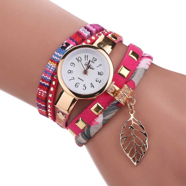 DUOYA Women Quartz Bracelet Watch Multi-layer PU Leather Strap Casual Wristwatch TT@88