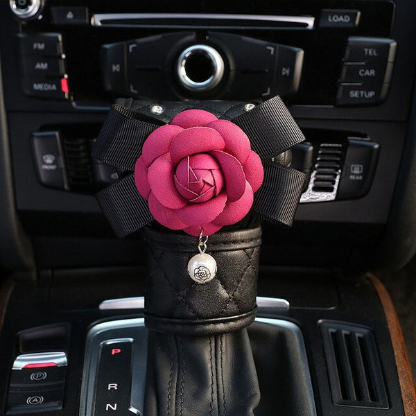 Cute Rose Flower Car Interior Decoration Leather Crystal Auto Neck Pillow Handbrake Gears Shift Cover Seat Belt Case Accessories