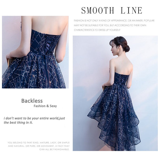 JaneyGao Prom Dresses For Women Short Front Back Long High Quality Strapless Elegant Formal Gown 2020 New Cheap Price On Sale