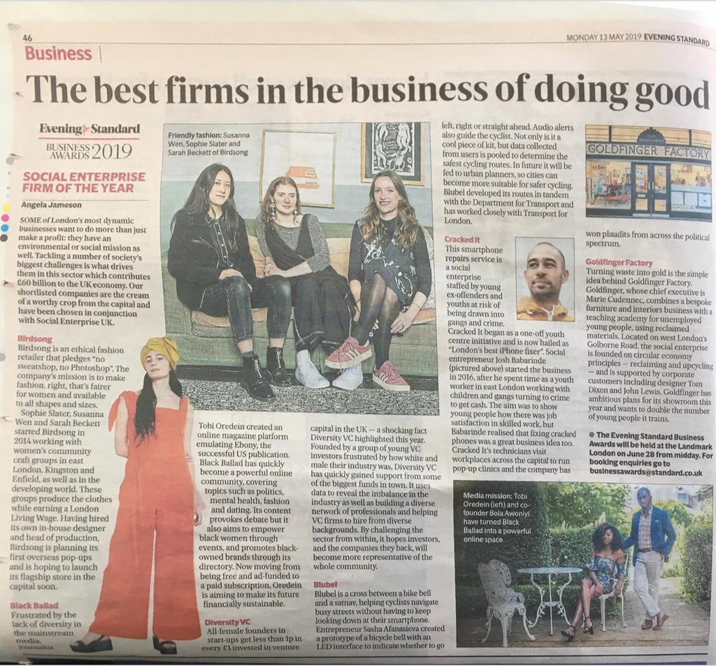 Evening Standard Article May 2019