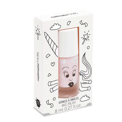 Vernis enfant base eau - Polly - rose transparent paillettes