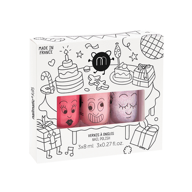 Coffret 3 vernis rose - Party
