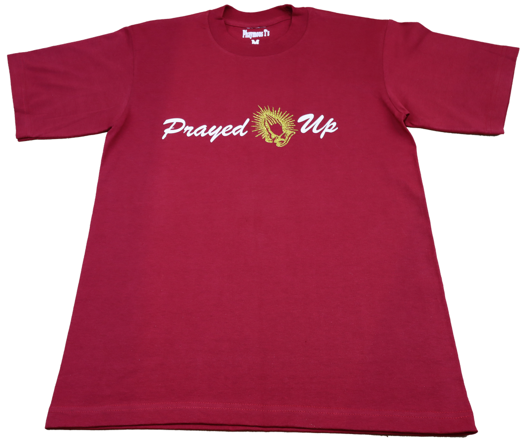 Prayed Up Tee in Burgundy