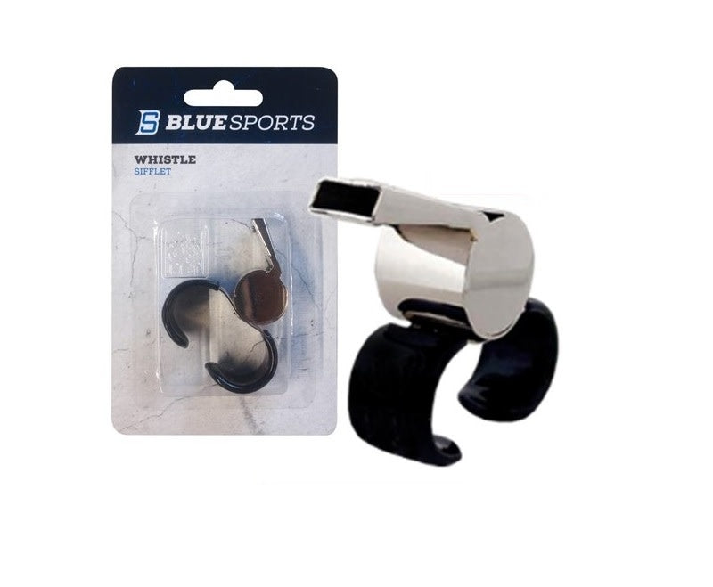 Blue Sports Brass Finger Grip Whistle - Maltby Sports