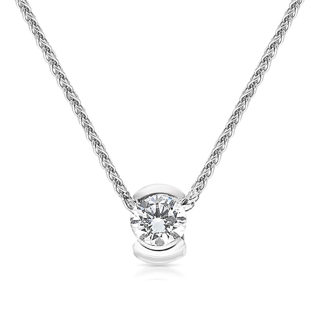 Classic Diamond Pendant in a Half Bezel Invisible Pave Setting