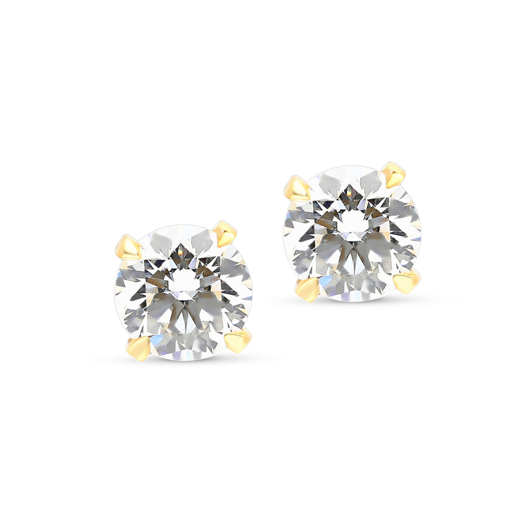Yellow Gold Classic Solitaire Diamond Studs