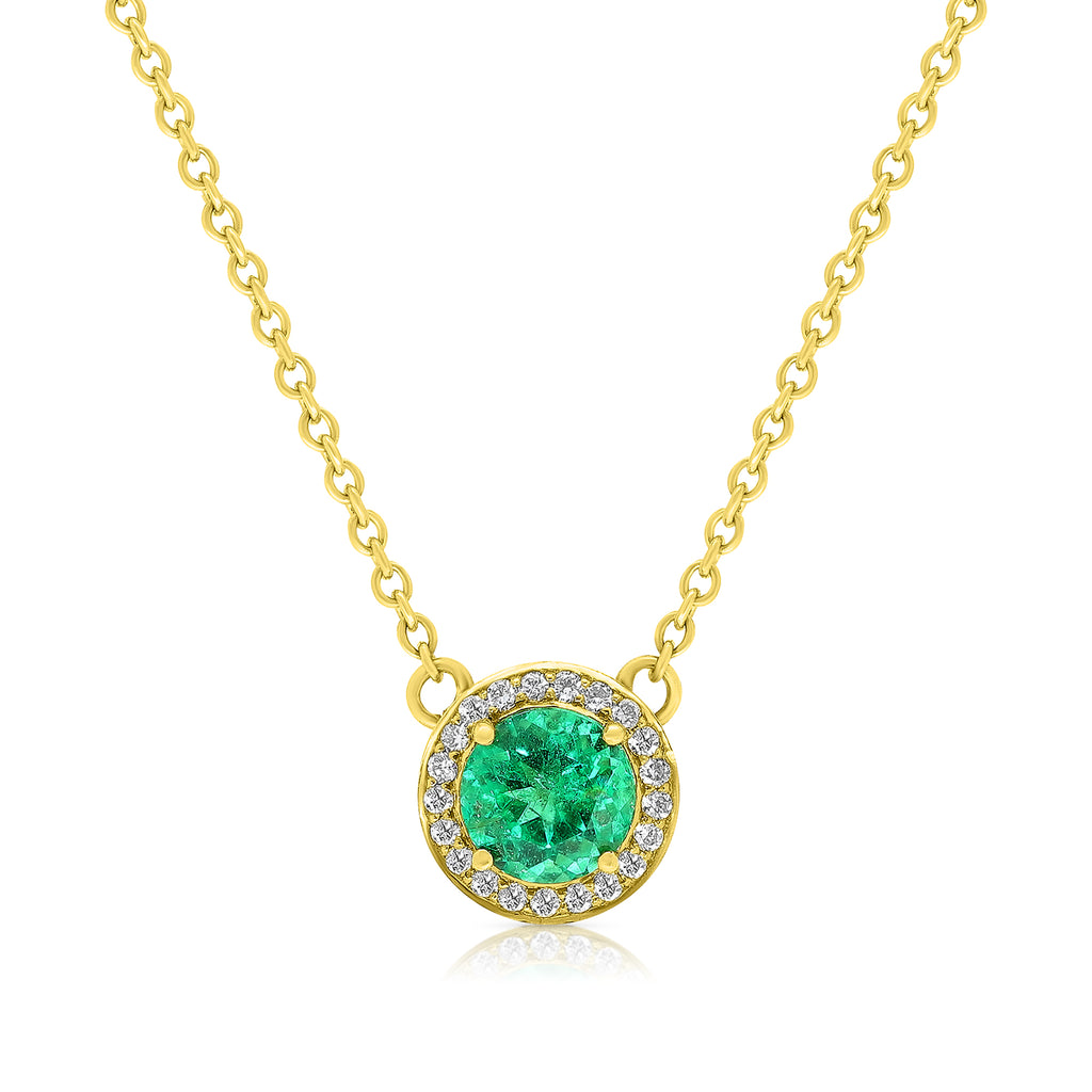 Yellow Gold Emerald Halo Pendant Necklace