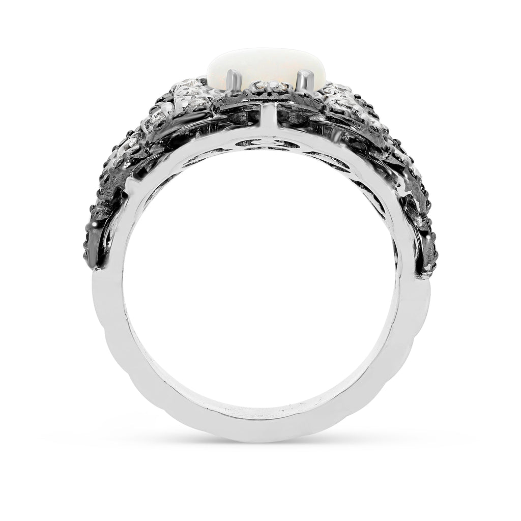 Black and White Diamond Antique Style Estate Ring