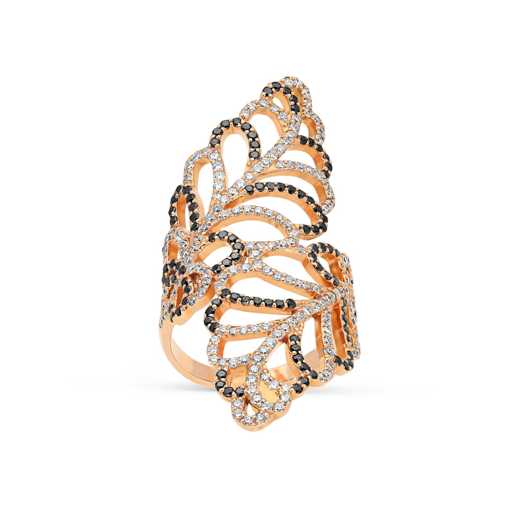 Salt and Pepper Diamond Bypass Leaf Ring